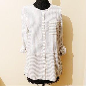 J. Jill • green and white stripped shirt (M)